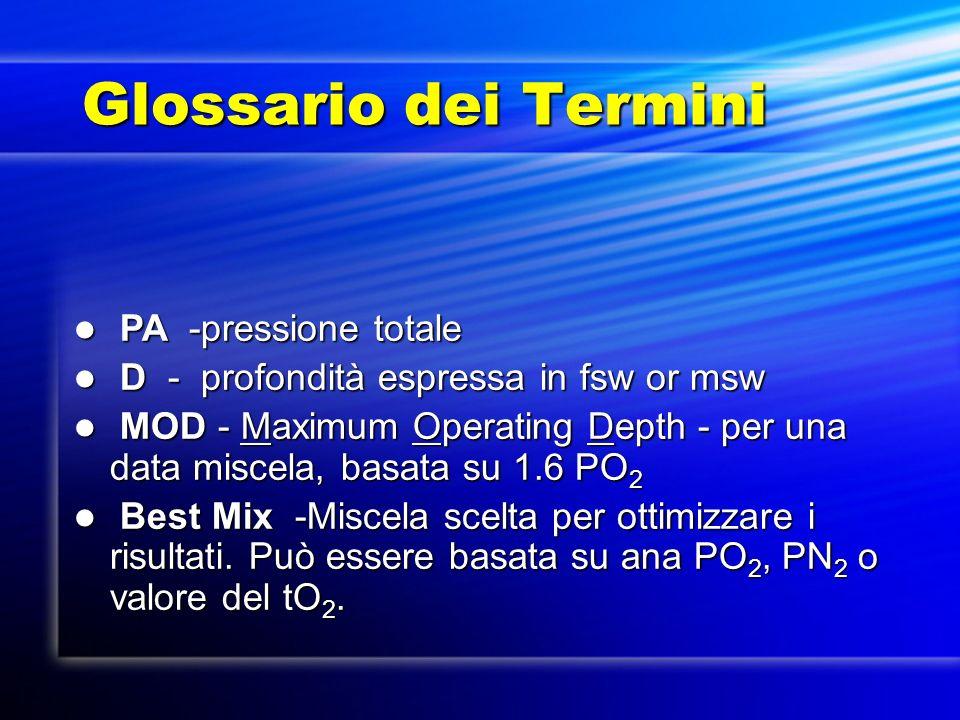 Glossario dei Termini PA -pressione totale PA -pressione totale D - profondità espressa in fsw or msw D - profondità espressa in fsw or msw MOD - Maxi