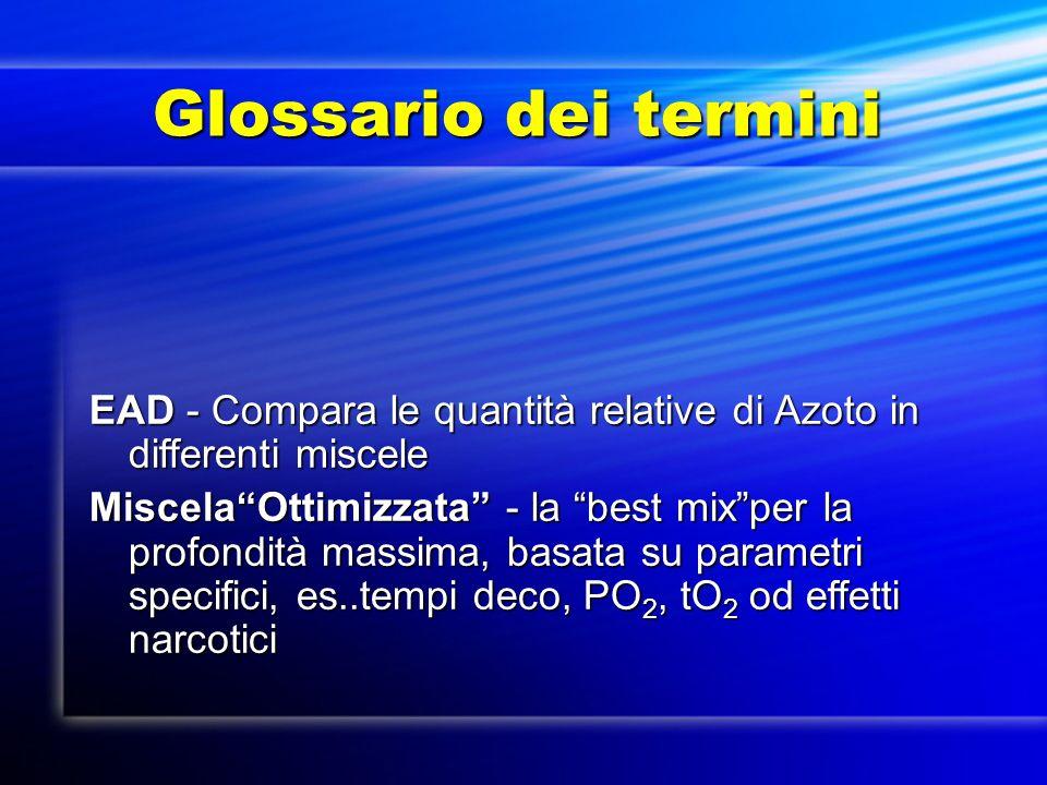 Glossario dei termini Glossario dei termini EAD - Compara le quantità relative di Azoto in differenti miscele MiscelaOttimizzata - la best mixper la p