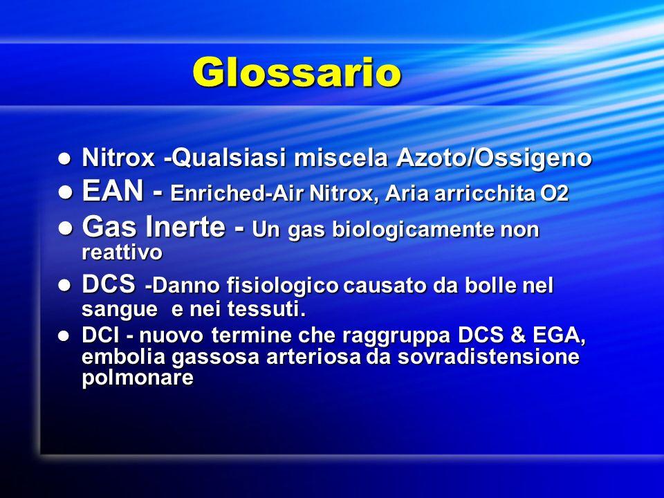 Glossario Glossario Nitrox -Qualsiasi miscela Azoto/Ossigeno Nitrox -Qualsiasi miscela Azoto/Ossigeno EAN - Enriched-Air Nitrox, Aria arricchita O2 EA