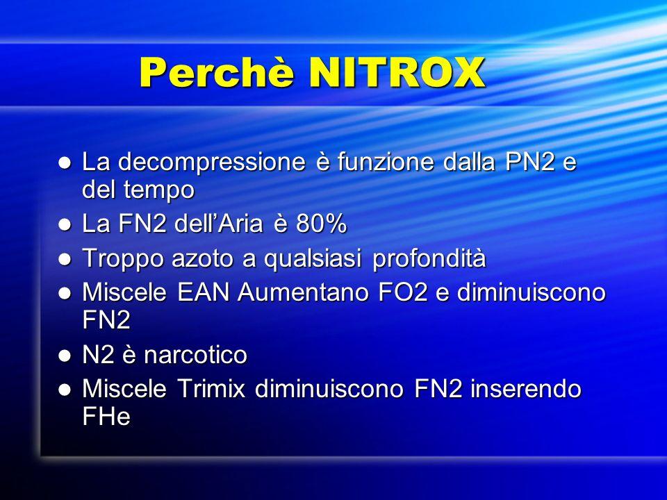 Perchè NITROX Perchè NITROX La decompressione è funzione dalla PN2 e del tempo La decompressione è funzione dalla PN2 e del tempo La FN2 dellAria è 80