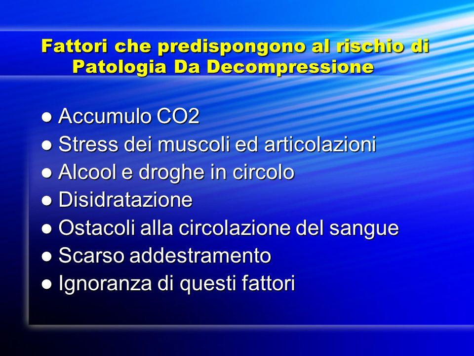 Fattori che predispongono al rischio di Patologia Da Decompressione Fattori che predispongono al rischio di Patologia Da Decompressione Accumulo CO2 A