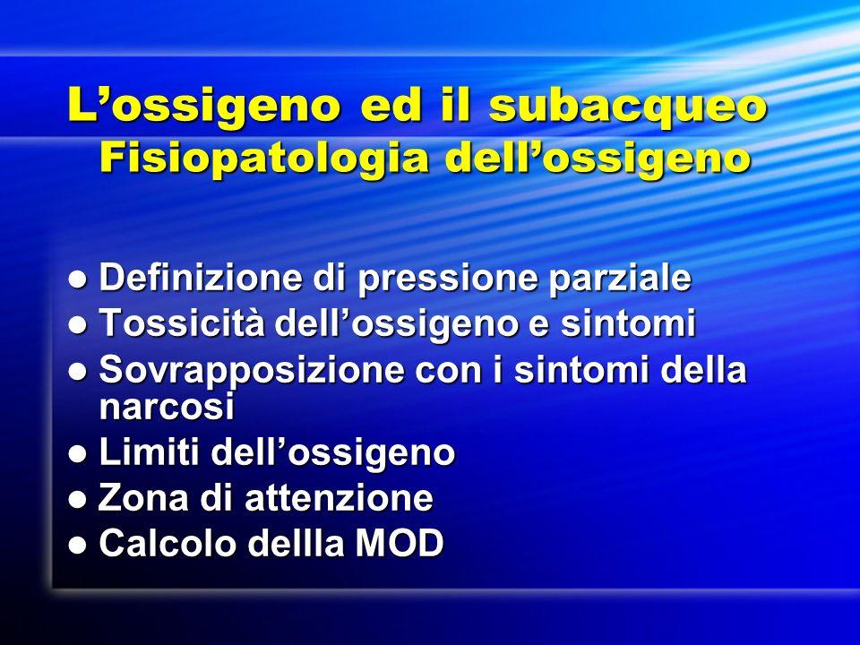 Lossigeno ed il subacqueo Fisiopatologia dellossigeno Definizione di pressione parziale Definizione di pressione parziale Tossicità dellossigeno e sin