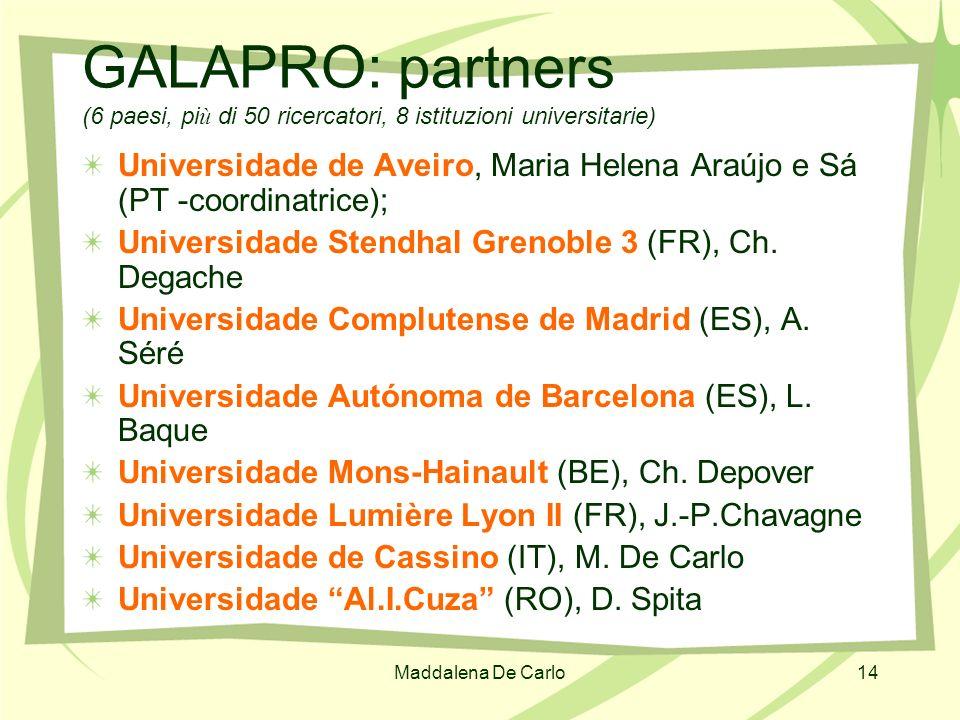 Maddalena De Carlo14 GALAPRO: partners (6 paesi, pi ù di 50 ricercatori, 8 istituzioni universitarie) Universidade de Aveiro, Maria Helena Araújo e Sá