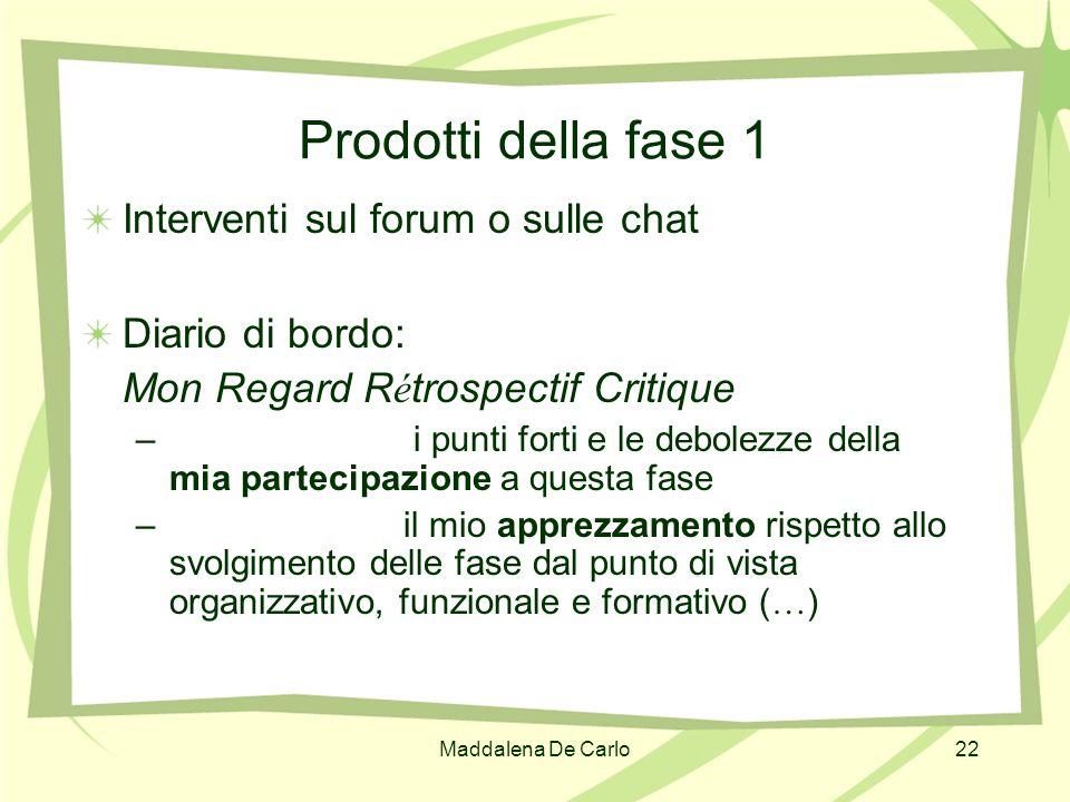 Maddalena De Carlo22 Prodotti della fase 1 Interventi sul forum o sulle chat Diario di bordo: Mon Regard R é trospectif Critique – i punti forti e le