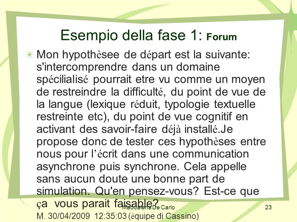 Maddalena De Carlo23 Esempio della fase 1: Forum Mon hypoth è see de d é part est la suivante: s'intercomprendre dans un domaine sp é cilialis é pourr