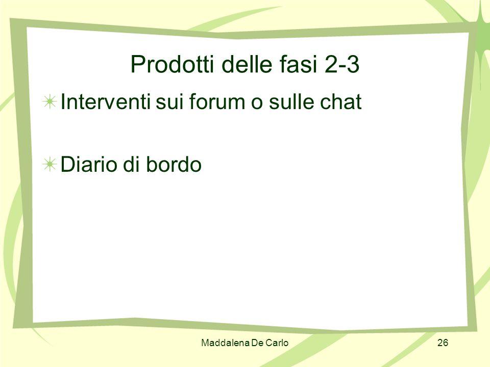 Maddalena De Carlo26 Prodotti delle fasi 2-3 Interventi sui forum o sulle chat Diario di bordo