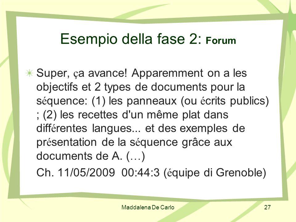 Maddalena De Carlo27 Esempio della fase 2: Forum Super, ç a avance! Apparemment on a les objectifs et 2 types de documents pour la s é quence: (1) les