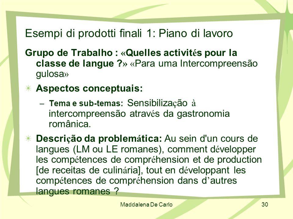 Maddalena De Carlo30 Esempi di prodotti finali 1: Piano di lavoro Grupo de Trabalho : « Quelles activit é s pour la classe de langue ? » « Para uma In