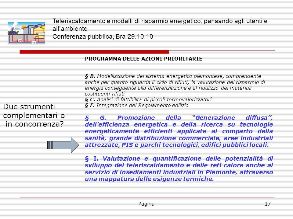Pagina17 PROGRAMMA DELLE AZIONI PRIORITARIE § B. Modellizzazione del sistema energetico piemontese, comprendente anche per quanto riguarda il ciclo di