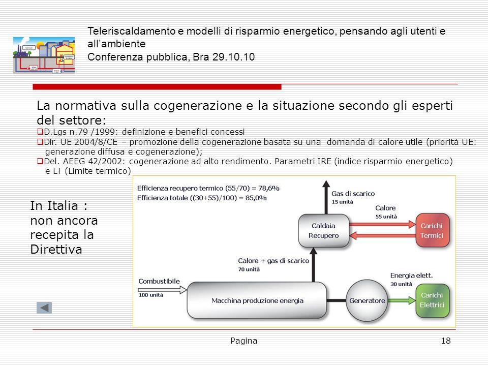Pagina18 La normativa sulla cogenerazione e la situazione secondo gli esperti del settore: D.Lgs n.79 /1999: definizione e benefici concessi Dir. UE 2