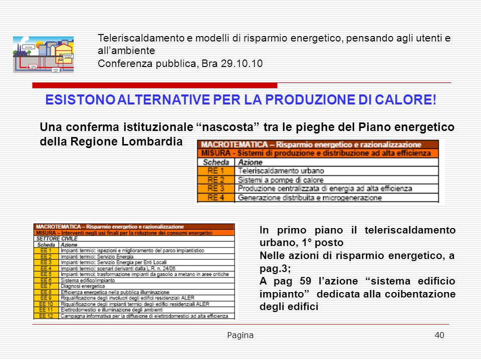 Pagina40 ESISTONO ALTERNATIVE PER LA PRODUZIONE DI CALORE! Una conferma istituzionale nascosta tra le pieghe del Piano energetico della Regione Lombar
