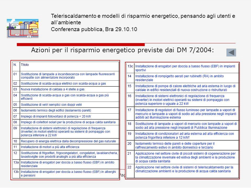 Pagina8 Azioni per il risparmio energetico previste dai DM 7/2004: Teleriscaldamento e modelli di risparmio energetico, pensando agli utenti e allambi