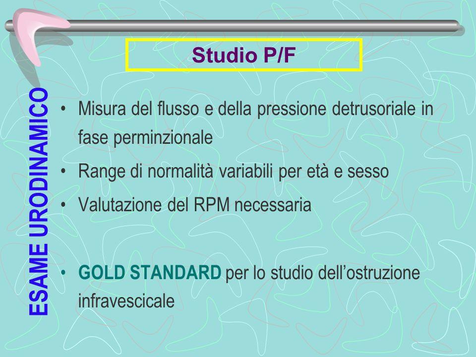 Misura del flusso e della pressione detrusoriale in fase perminzionale Range di normalità variabili per età e sesso Valutazione del RPM necessaria GOL