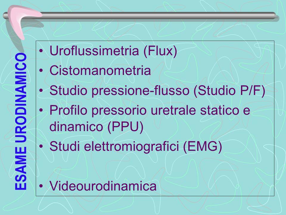 ESAME URODINAMICO Uroflussimetria (Flux) Cistomanometria Studio pressione-flusso (Studio P/F) Profilo pressorio uretrale statico e dinamico (PPU) Stud