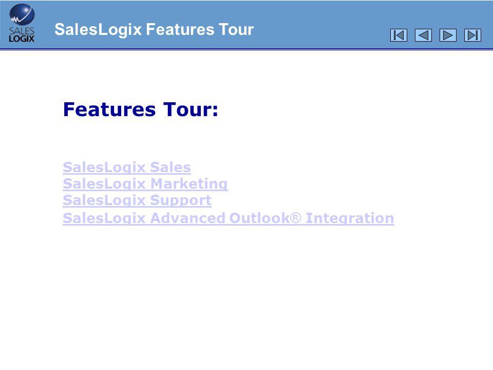 Integrazione col calendario Possibilità per utenti Outlook di inviare richieste di appuntamenti a utenti di SalesLogix Possibilità per utenti Outlook di visualizzare le agende degli utenti SalesLogix per controllare la disponibilità Utilizzo del calendario di Outlook direttamente all0interno di SalesLogix SalesLogix Advanced Outlook® Integration