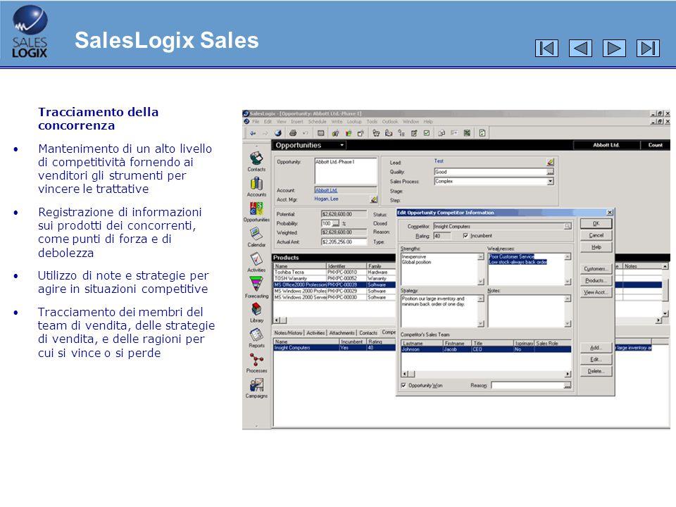 Tracciamento della concorrenza Mantenimento di un alto livello di competitività fornendo ai venditori gli strumenti per vincere le trattative Registra
