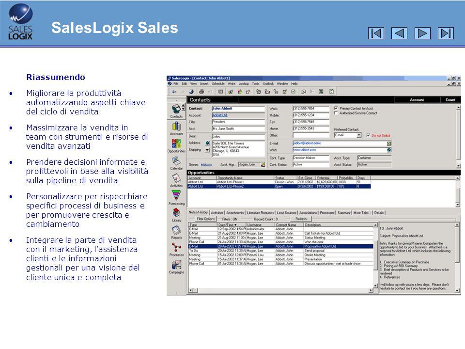 Riassumendo Migliorare la produttività automatizzando aspetti chiave del ciclo di vendita Massimizzare la vendita in team con strumenti e risorse di v