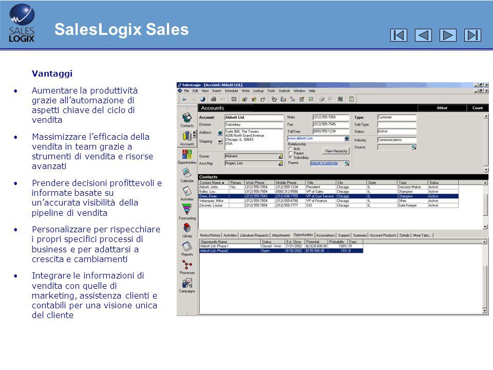 Vantaggi Aumentare la produttività grazie allautomazione di aspetti chiave del ciclo di vendita Massimizzare lefficacia della vendita in team grazie a