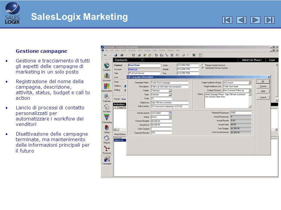Gestione campagne Gestione e tracciamento di tutti gli aspetti delle campagne di marketing in un solo posto Registrazione del nome della campagna, des