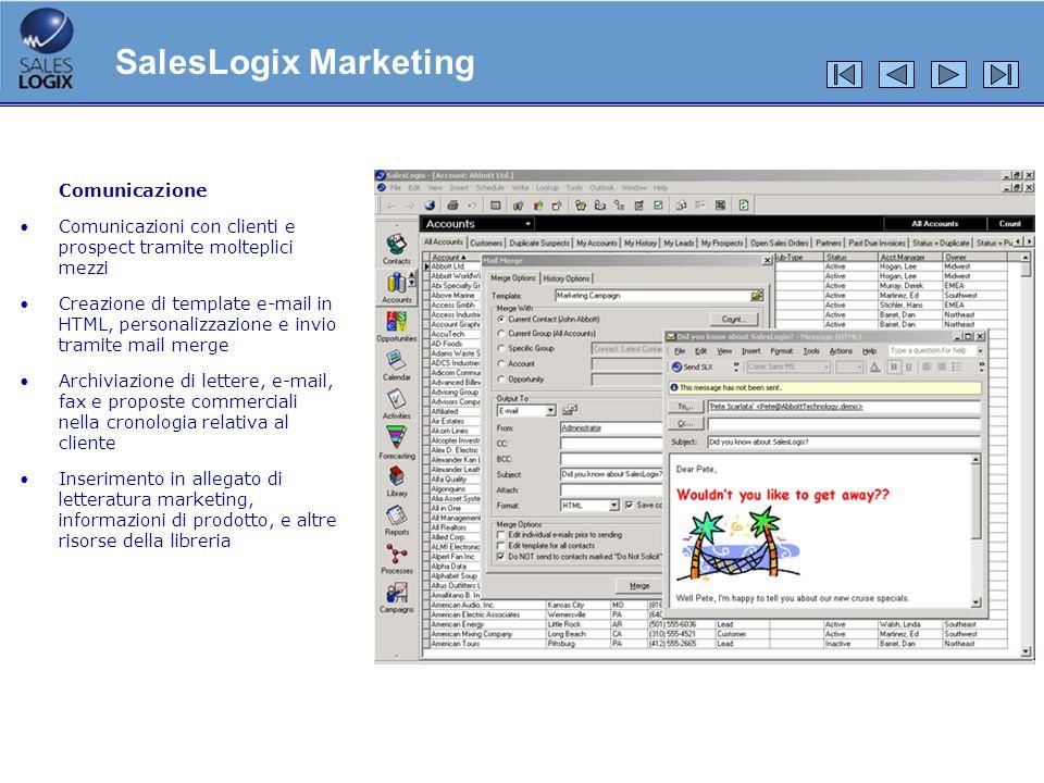 Comunicazione Comunicazioni con clienti e prospect tramite molteplici mezzi Creazione di template e-mail in HTML, personalizzazione e invio tramite ma