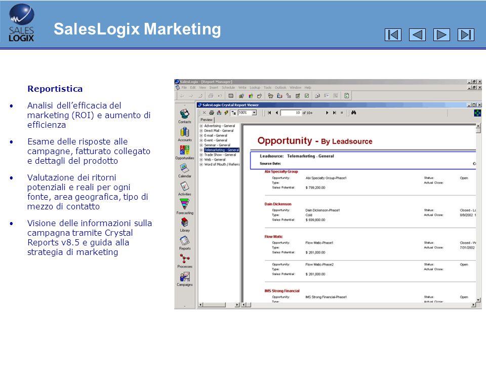 Reportistica Analisi dellefficacia del marketing (ROI) e aumento di efficienza Esame delle risposte alle campagne, fatturato collegato e dettagli del