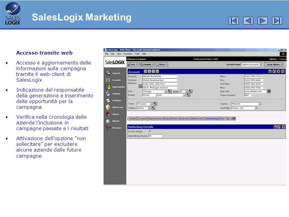 Accesso tramite web Accesso e aggiornamento delle informazioni sulla campagna tramite il web-client di SalesLogix Indicazione del responsabile della g