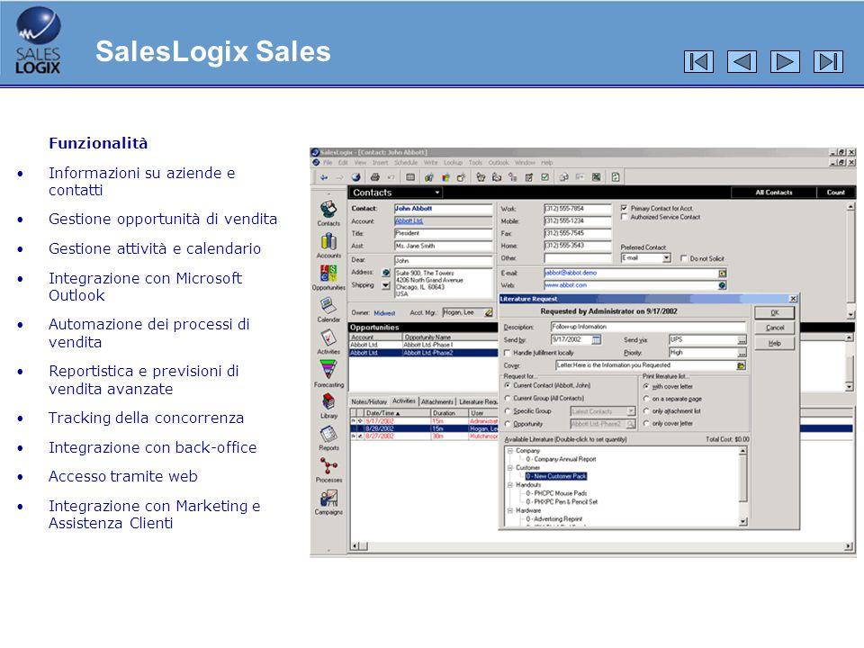 Sincronizzazione di Outlook Sincronizzazione automatica e non intrusiva Personalizzazione della configurazione e scelta delle sezioni di SalesLogix da sincronizzare con Outlook Disponibilità della sincronizzazione manuale SalesLogix Advanced Outlook® Integration