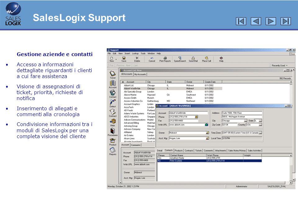 Gestione aziende e contatti Accesso a informazioni dettagliate riguardanti i clienti a cui fare assistenza Visione di assegnazioni di ticket, priorità