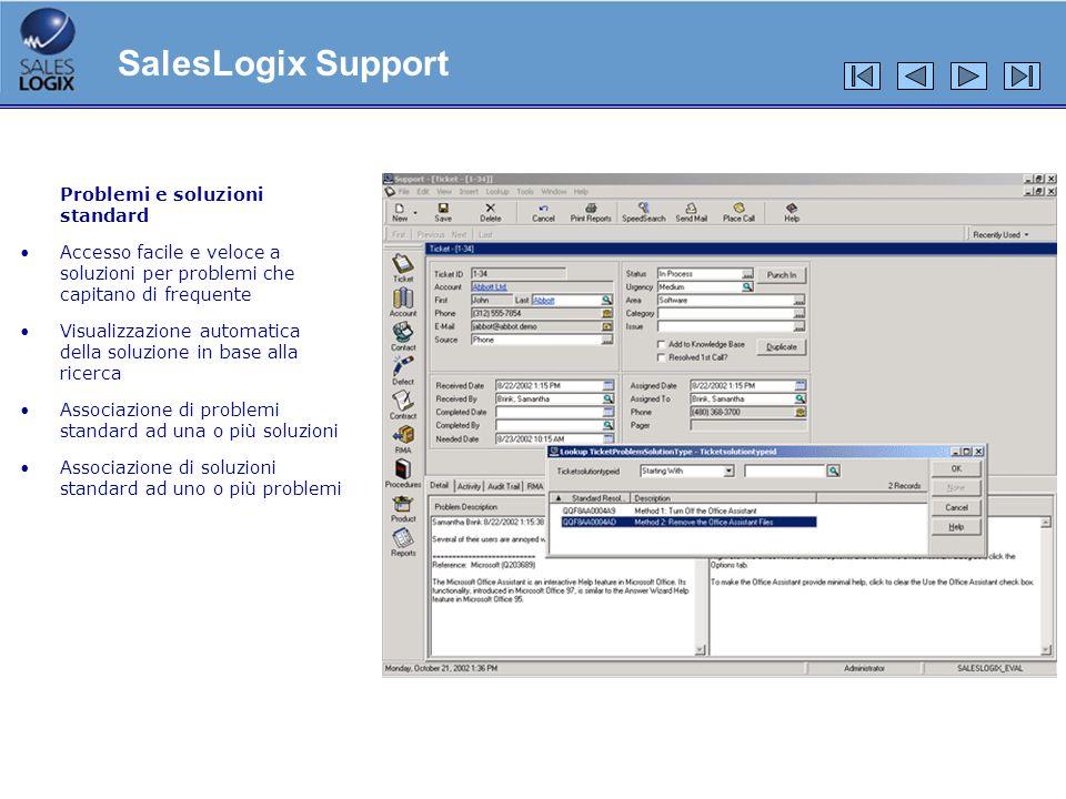 Problemi e soluzioni standard Accesso facile e veloce a soluzioni per problemi che capitano di frequente Visualizzazione automatica della soluzione in