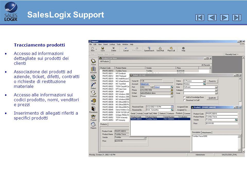 Tracciamento prodotti Accesso ad informazioni dettagliate sui prodotti dei clienti Associazione dei prodotti ad aziende, ticket, difetti, contratti o