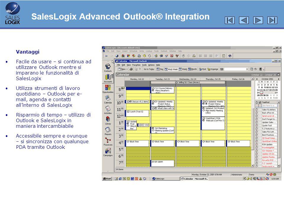 Vantaggi Facile da usare – si continua ad utilizzare Outlook mentre si imparano le funzionalità di SalesLogix Utilizza strumenti di lavoro quotidiano