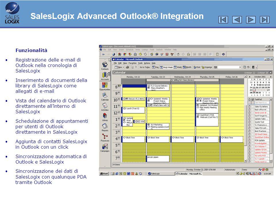 Funzionalità Registrazione delle e-mail di Outlook nella cronologia di SalesLogix Inserimento di documenti della library di SalesLogix come allegati d