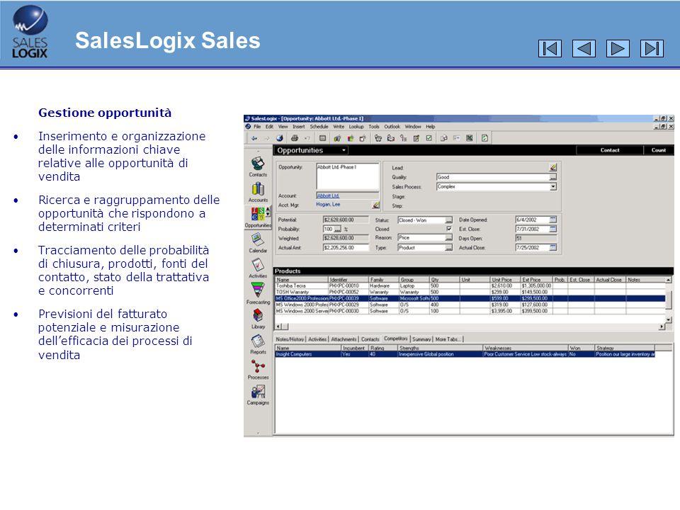 Gestione opportunità Inserimento e organizzazione delle informazioni chiave relative alle opportunità di vendita Ricerca e raggruppamento delle opport