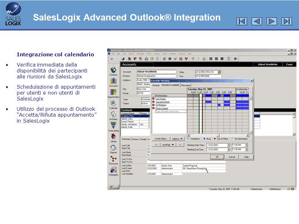 Integrazione col calendario Verifica immediata della disponibilità dei partecipanti alle riunioni da SalesLogix Schedulazione di appuntamenti per uten