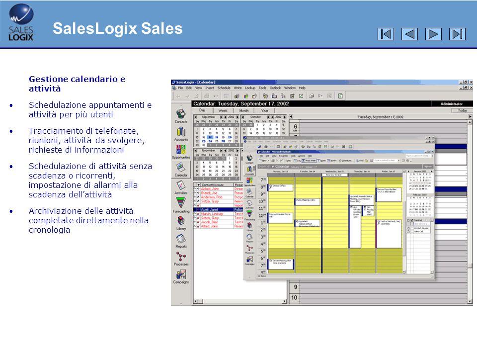 Funzionalità Registrazione delle e-mail di Outlook nella cronologia di SalesLogix Inserimento di documenti della library di SalesLogix come allegati di e-mail Vista del calendario di Outlook direttamente allinterno di SalesLogix Schedulazione di appuntamenti per utenti di Outlook direttamente in SalesLogix Aggiunta di contatti SalesLogix in Outlook con un click Sincronizzazione automatica di Outlook e SalesLogix Sincronizzazione dei dati di SalesLogix con qualunque PDA tramite Outlook SalesLogix Advanced Outlook® Integration