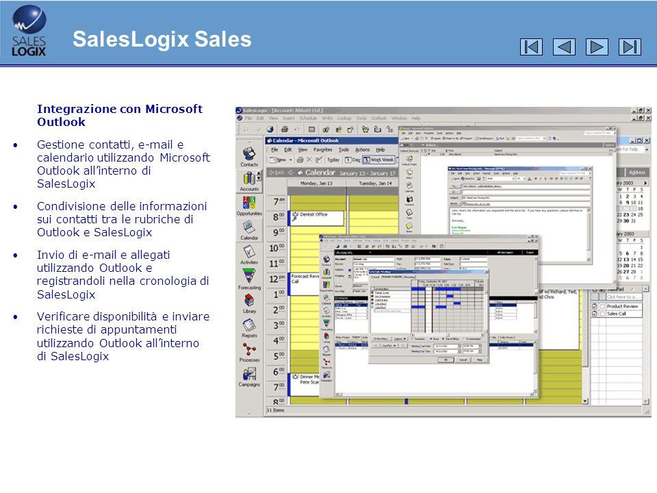 Integrazione e-mail Utilizzo del bottone Send SLX nella schermata delle e-mail di Outlook Registrazione delle mail di Outlook nella cronologia di SalesLogix con un click Certezza che le e-mail siano accuratamente conservate nel database di SalesLogix SalesLogix Advanced Outlook® Integration