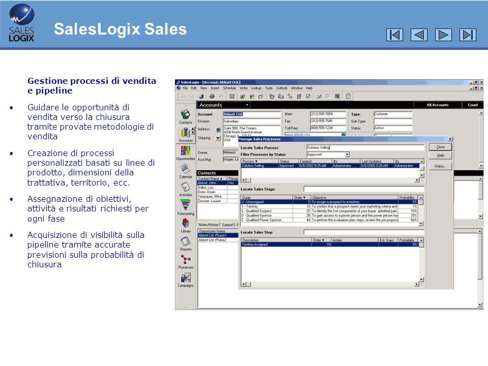 Gestione processi di vendita e pipeline Guidare le opportunità di vendita verso la chiusura tramite provate metodologie di vendita Creazione di proces