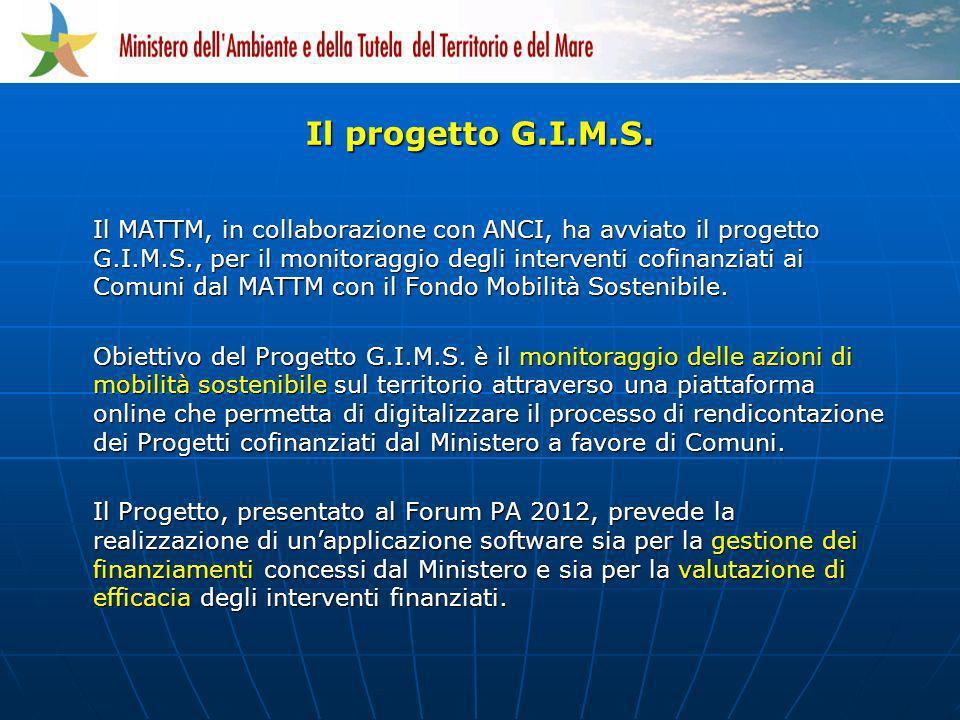 Il MATTM, in collaborazione con ANCI, ha avviato il progetto G.I.M.S., per il monitoraggio degli interventi cofinanziati ai Comuni dal MATTM con il Fo