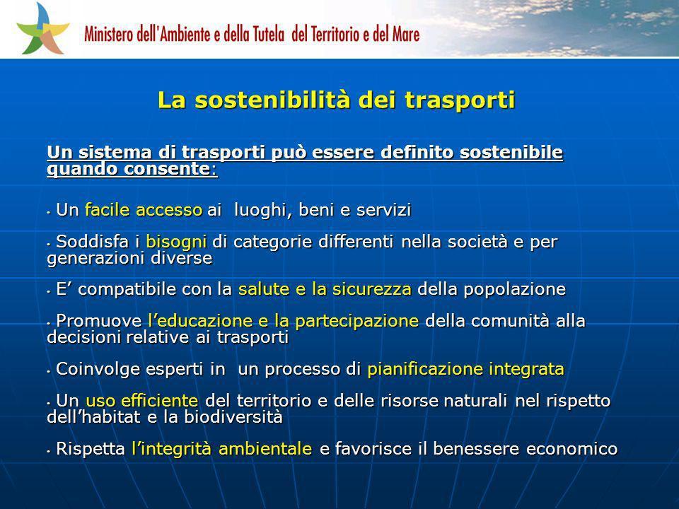 Un sistema di trasporti può essere definito sostenibile quando consente: Un facile accesso ai luoghi, beni e servizi Un facile accesso ai luoghi, beni