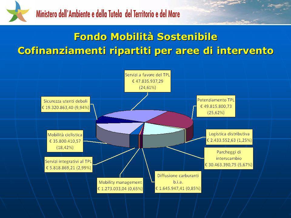 Cofinanziamenti ripartiti per aree di intervento