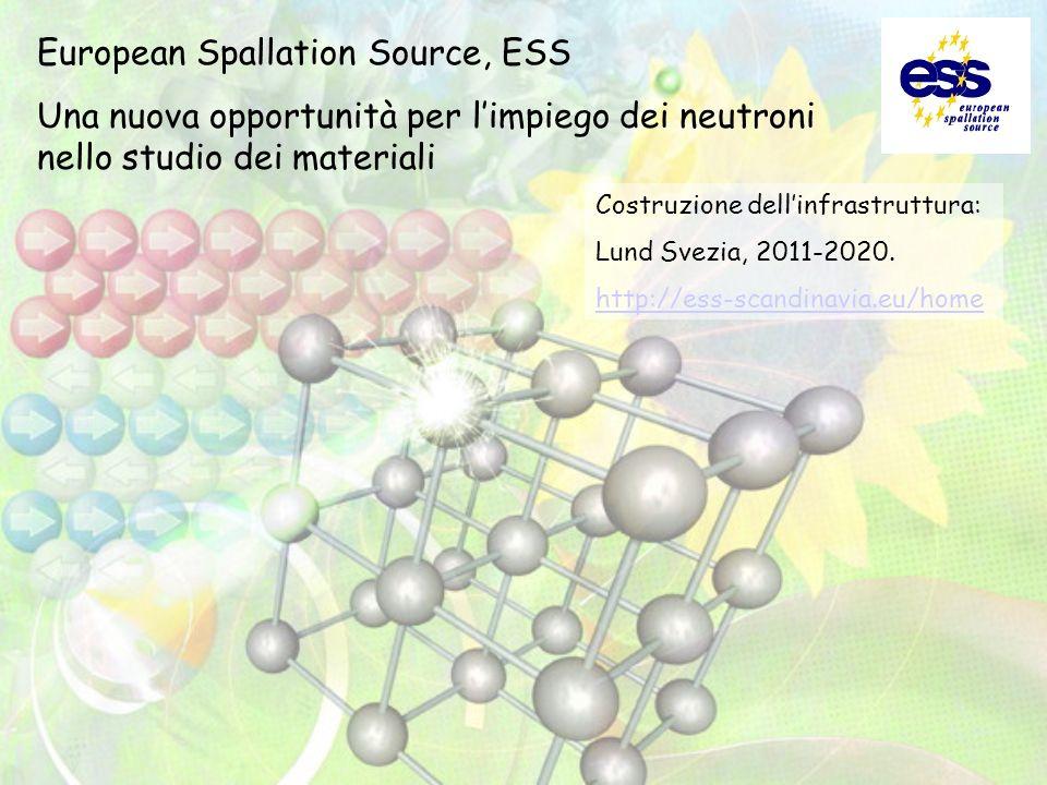 European Spallation Source, ESS Una nuova opportunità per limpiego dei neutroni nello studio dei materiali Costruzione dellinfrastruttura: Lund Svezia, 2011-2020.