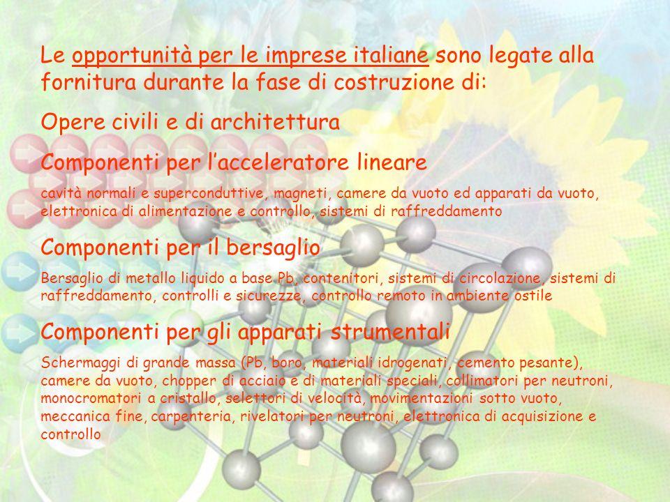 Le opportunità per le imprese italiane sono legate alla fornitura durante la fase di costruzione di: Opere civili e di architettura Componenti per lac