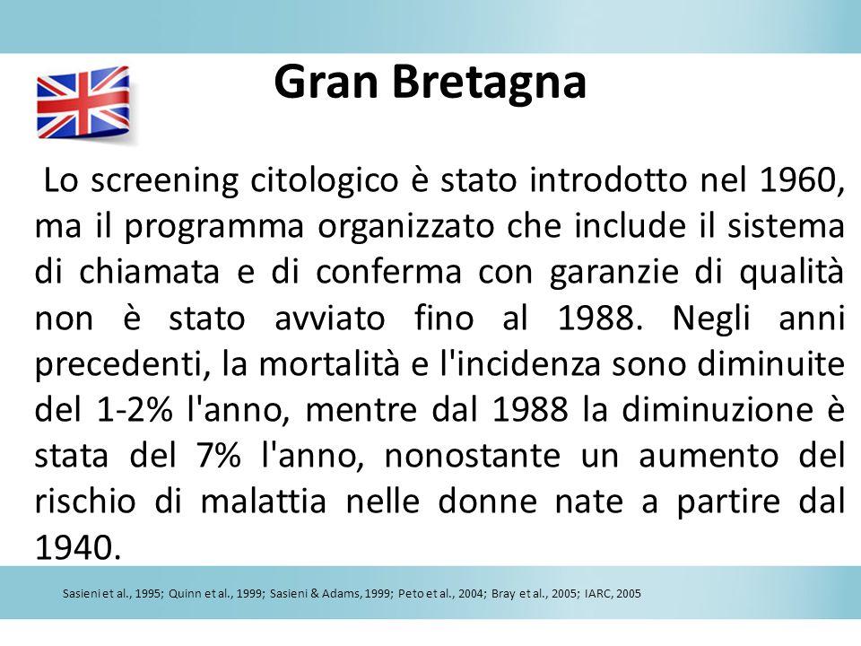 Gran Bretagna Lo screening citologico è stato introdotto nel 1960, ma il programma organizzato che include il sistema di chiamata e di conferma con ga