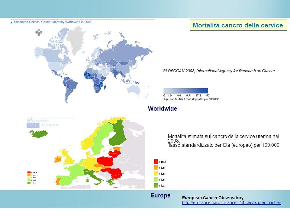 Mortalità stimata sul cancro della cervice uterina nel 2008; Tasso standardizzato per Età (europeo) per 100.000 European Cancer Observatory http://eu-