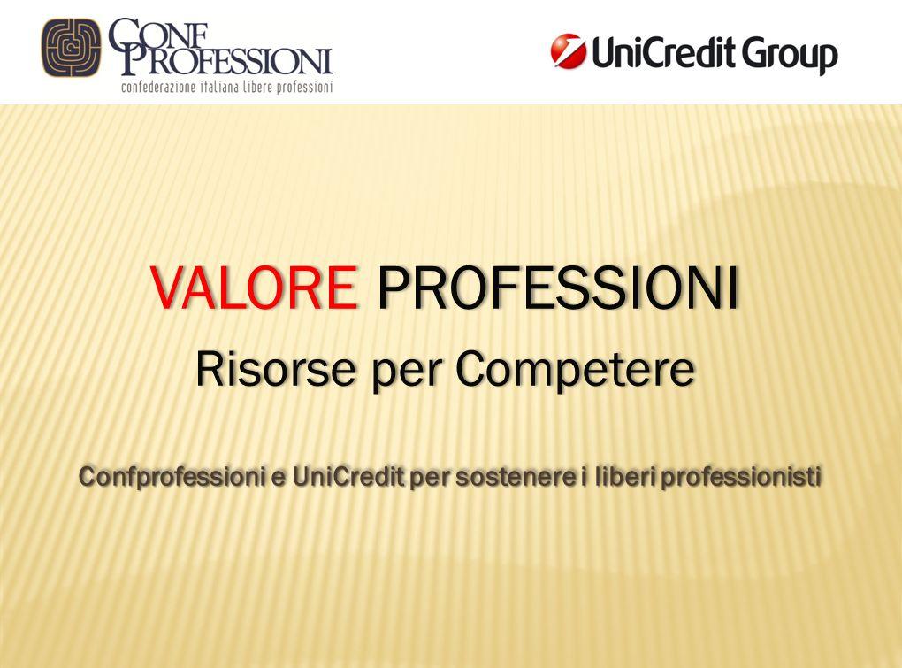 VALORE PROFESSIONIVALORE PROFESSIONI Risorse per CompetereRisorse per Competere Confprofessioni e UniCredit per sostenere i liberi professionisti