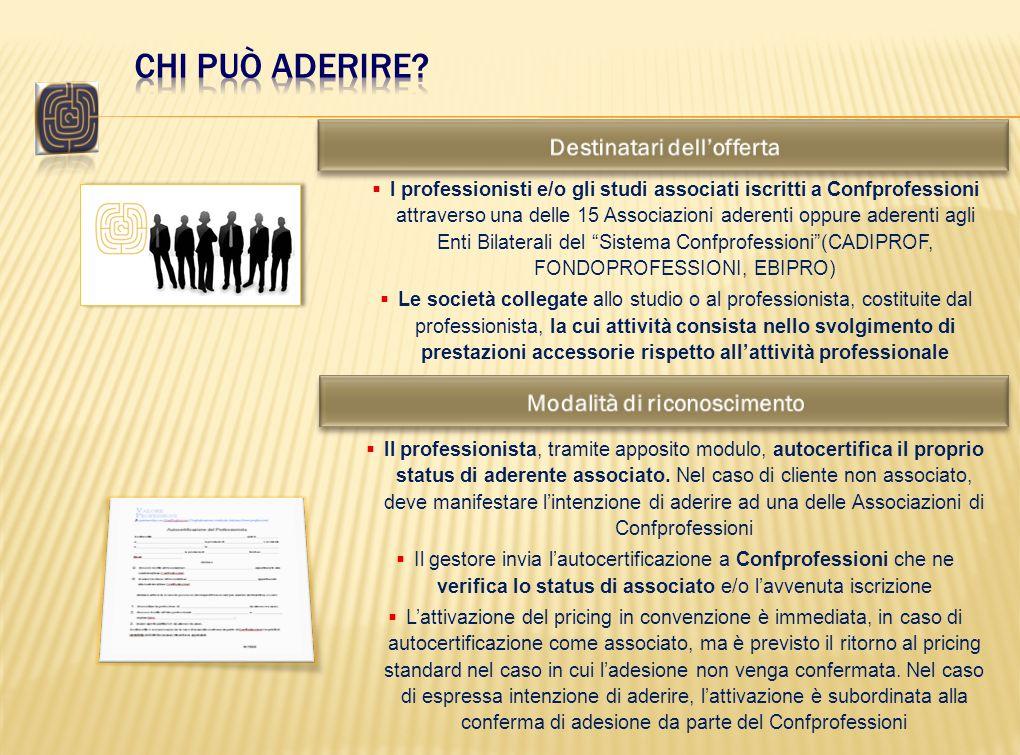 I professionisti e/o gli studi associati iscritti a Confprofessioni attraverso una delle 15 Associazioni aderenti oppure aderenti agli Enti Bilaterali