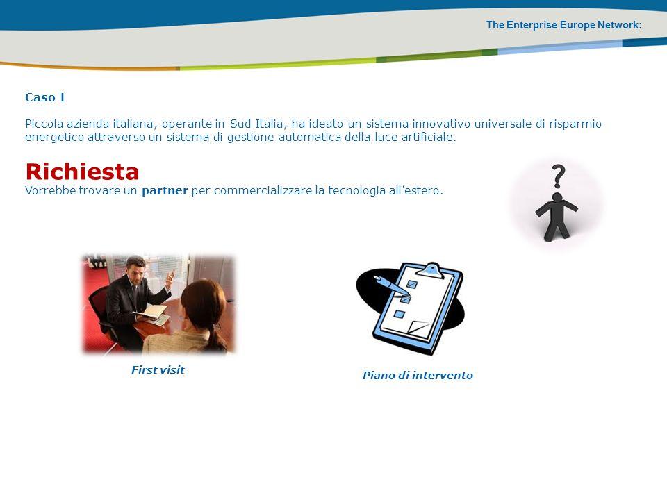 The Enterprise Europe Network: Caso 1 Piccola azienda italiana, operante in Sud Italia, ha ideato un sistema innovativo universale di risparmio energe