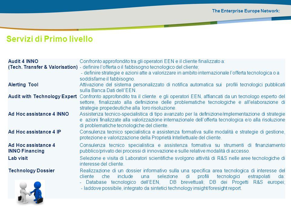 The Enterprise Europe Network: Audit 4 INNO (Tech. Transfer & Valorisation) Confronto approfondito tra gli operatori EEN e il cliente finalizzato a: -