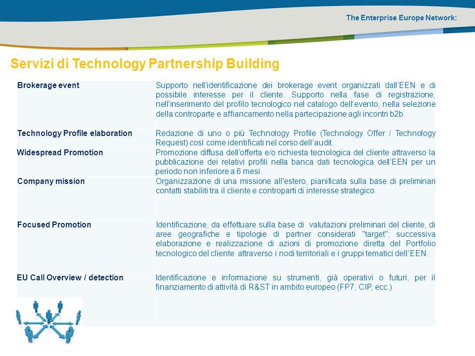 The Enterprise Europe Network: Brokerage eventSupporto nellidentificazione dei brokerage event organizzati dallEEN e di possibile interesse per il cli