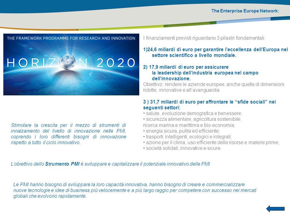 The Enterprise Europe Network: I finanziamenti previsti riguardano 3 pilastri fondamentali: 1)24,6 miliardi di euro per garantire leccellenza dellEuro